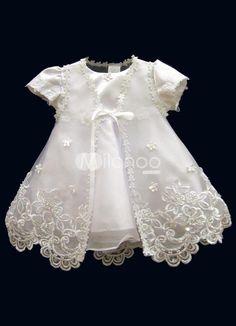 White Jewel Neck Cotton Polyester Christening Dress. White Jewel Neck Cotton Polyester Christening Dress. See More Christening Dresses at http://www.ourgreatshop.com/Christening-Dresses-C909.aspx