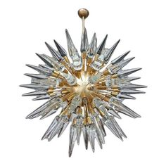 Sputnik chandelier with 95 cone-shaped glass pieces from the 1980s. Two available, priced individually. Sputnik Chandelier, Chandeliers, Home Lighting, 1980s, Mid-century Modern, Ceiling Lights, Shapes, Holiday Decor, Glass