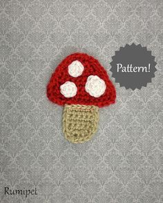 Crochet Mushroom Toadstool Applique Pattern by Kelly DeSandro on Ravelry