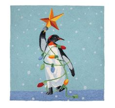 Christmas Im A Tree Penquin Hooked Rugs  - Scott Church - Peking Handicraft