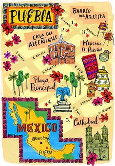 Puebla, México. Ilustrated map