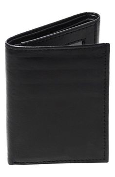 Men's Cathy's Concepts 'Oxford' Personalized Leather Trifold Wallet - Black