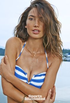 Lily Aldridge in Dogeared for Sports Illustrated Swimsuit 2015 #feather #necklace
