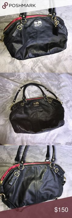 Black leather Coach bag In wonderful condition black with gold hardware and pink interior no major flaws authentic comes with Crossbody strap *no trades* Coach Bags Satchels Luxury Fashion, Womens Fashion, Fashion Tips, Fashion Design, Fashion Trends, Streetwear Brands, Satchels, Gold Hardware, Coach Bags