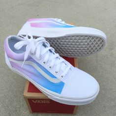 These True White Vans Old Skool Sneakers have been painted with a pastel color ombre gradient on the sides of the shoes. The light blue color starts towards the Vans Sneakers, Tenis Vans, Painted Vans, Painted Shoes, Hand Painted, Basket Style, Cute Vans, Baskets, New Shoes