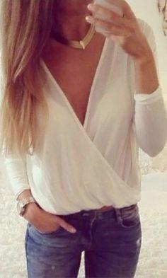 Mesh Shell V Neck Shirt - White