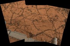 """This patch of Martian bedrock, about 2 feet across, is fine-grained, finely layered rock with some pea-sized inclusions. It lies near the lowest point of the """"Pahrump Hills"""" outcrop. 