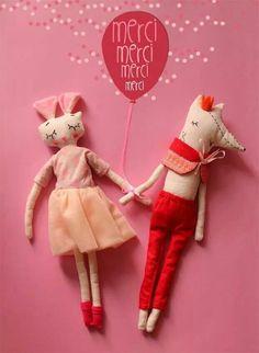 """poupées d'Anaïs natiembe(artiste réunionnaise): """"les amoureux"""""""