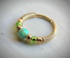 opal nose hoop  green opal nose ring  opal by LarryJewelryShop