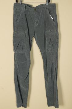 Jimmy Taverniti Gray Corduroy Cargo Pants sz 34 New with Tags Jeans Blue Trouser #JimmyTaverniti #Cargo