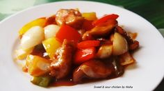 Chicken in sweet and sour sauce.