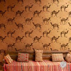 Moroccan Camel Pattern Wallpaper Wall Stencils for DIY Nursery | Royal Design Studio