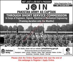 Join Pakistan Army as Captain Jobs in Pakistan Pakistan Army, Jobs In Pakistan, Pakistan News, Army Jobs, Online Registration, Job Ads, Mechanical Engineering, Join, News From Pakistan