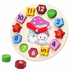 Little star Wooden blocks toys Digital Geometry Clock Children's Educational toy for baby boy and girl gift