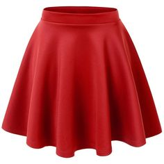 Lock and Love Womens Basic Versatile Stretchy Flared Skater Skirt ($11) ❤ liked on Polyvore featuring skirts, bottoms, faldas, red skater skirt, skater skirt, red knee length skirt, stretch skirt и circle skirt