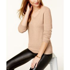 Charter Club V-Neck Cashmere Sweater, Created for Macy's ($70) ❤ liked on Polyvore featuring tops, sweaters, blush heather, red top, red v neck sweater, long sleeve v neck sweater, v-neck top and red cashmere sweater