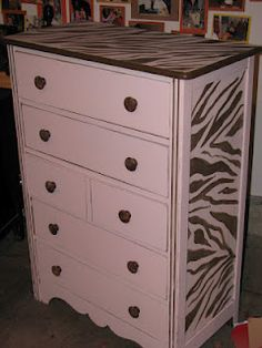 Pale pink and zebra dresser http://www.themagicbrushinc.blogspot.com