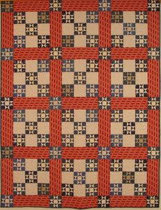 Primitive Gatherings pattern - Would be great in Americana colors as well. Old Quilts, Amish Quilts, Antique Quilts, Star Quilts, Scrappy Quilts, Vintage Quilts, Vintage Sewing, Quilt Blocks, Two Color Quilts