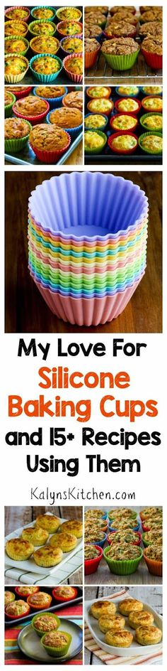 My Love for Silicone Baking Cups and 15+ Recipes Using Silicone Baking Cups; I use these individual re-usable silicone baking cups for favorite recipes like low-carb and gluten-free egg muffins, cottage cheese and egg muffins, whole wheat muffins, and almond flour muffins. [found on KalynsKitchen.com]