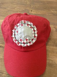 Houndstooth appliqué elephant hat by RusticBelleGifts on Etsy, $18.00