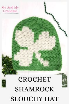 Our new white and green shamrock hat is here just in time for St. Patrick's Day!! Now you can show off your shamrock pride while keeping your head nice and toasty where ever your kiddos take you! This is the perfect slouchy hat to add to your busy mom look! Click to see more of this fun crochet shamrock hat or pin it for later. #shamrock #shamrockhat #crochethat #greenhat #momstyle #busymomstyle Winter Gear, Winter Fun, Crochet Slouchy Hat, Crochet Hats, Snow Activities, Crochet Christmas Trees, Winter Blankets, Snow Fun, Green Hats