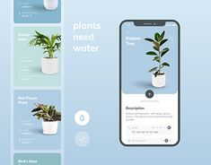 Plants Need Water - Mobile App Concept Plants Need Water is a small mobile app concept. The application helps not forget to water your plants and contains some tips about how to care for them. Great user experience, modern and clean user interface! Mobile Ui Design, Ui Ux Design, Identity Design, Visual Design, Design Responsive, User Interface Design, Flat Design, Best App Design, Interface App
