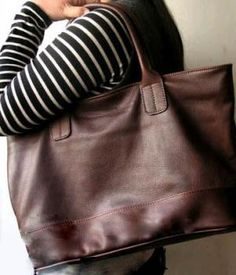 Brown Big Leather Tote Bag for Moms