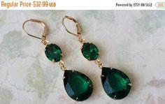 20% SALE Emerald Crystal Teardrop Earrings by ArtistInJewelry
