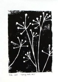 Black and White Cottage Chic Linocut  Handmade art poster using black ink on white paper. A cottage design of a growing and blooming flower plant. Simple and stunning. Modern, classic, yet colorful and fun. This is printed on 140lb weight paper printers 100% black cotton rag paper. The paper is torn/frayed on the edges. I carved the design out of a linoleum block, applied black printing ink, and then hand pulled the print. This is a mono-print, as no two prints are the same. This pri..