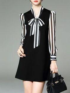 Black Stripes V neck Long sleeve Shift Casual Paneled Cotton-blend Mini Dress Look Fashion, Unique Fashion, Hijab Fashion, Fashion Dresses, Stylewe Dresses, Casual Dresses, Short Dresses, Tight Dresses, Work Attire