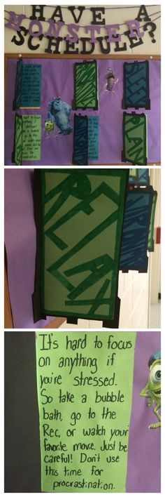Monsters Inc. themed boards. The doors have ways to help you with a busy schedule and you can open the doors to get more information. #RA #RABoard #Board #ResLife