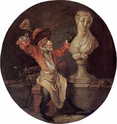 Le Singe sculpteur [The Monkey Sculptor], Antoine Watteau, ca. French Rococo, Rococo Style, Baroque, Jean Antoine Watteau, Monkey Style, Oil Painting Reproductions, Rococo Painting, Art Database, Old Master