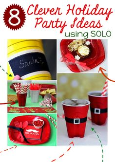 Clever party ideas using SOLO products. I LOVE the Santa belt idea.  #SOLOcup #UpForAnything #spon