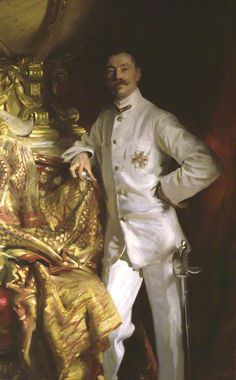1904, Sir Frank Swettenham by John Singer Sargent. Wearing the white uniform of the Colonial Administrator. National Portrait Gallery, UK.