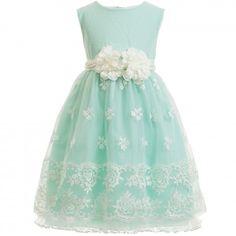 Aletta - Aqua Green Tulle & Embroidered Dress | Childrensalon