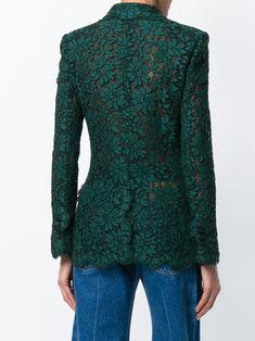 Dolce & Gabbana Cordonetto-lace Double-breasted Blazer In Green Lace Blazer, Lace Jacket, Fashion Wear, Cute Fashion, Turban Outfit, Streetwear, Kebaya Dress, Dress Neck Designs, Mode Chic