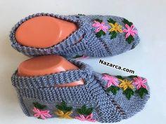 37-38-numara-ceyizlik-cicekli-gri-patik Ear Loop, Hello Everyone, Crochet, Baby Shoes, Slippers, Kids, Handmade, Fashion, Knitting Socks