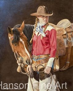 Lady In Red Cowgirl And Horse, Cowboy Art, Cowgirl Hats, Cow Girl, Gaucho, Horse Artwork, Vintage Cowgirl, Mountain Man, Art Studies