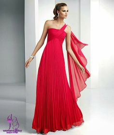 One shoulder gown in sexy red color / summer party
