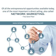 Of all the entrepreneurial #opportunities available today, one of the most important is direct selling, also called #NetworkMarketing. – Paul Zane Pilzer http://www.networkmarketingpaysmebig.com/