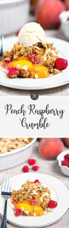 French Delicacies Essentials - Some Uncomplicated Strategies For Newbies Peach Raspberry Crumble-Warm, Juicy And Full Of Flavor The Topping Is Beyond Delicious. Its Sweet, Buttery And With An Amazing Almond Flavor. Desserts For A Crowd, Best Dessert Recipes, Summer Desserts, Sweets Recipes, Fruit Recipes, Easy Desserts, Delicious Desserts, Healthy Recipes, Pie Recipes