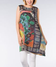 Another great find on #zulily! Green & Black Abstract Sleeveless Tunic - Plus by Dalin #zulilyfinds