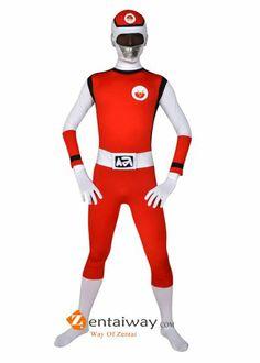 Red And White Spandex Lycra Superhero Costume Zentai