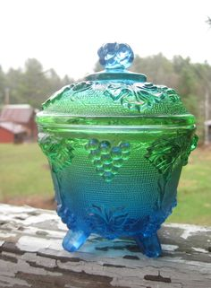 depression glass peacock | Vintage Blue to Green Jeannette Depression Glass Candy Dish