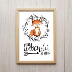 Bild Wir Lieben Dich Kunstdruck DIN A4 Fuchs Spruch Tiere Druck Kinderzimmer