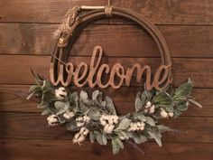 "Farmhouse Cotton ""Welcome"" Floral Rope Wreath , Western Rope Wreath, Wreath, Lariat Wreath, by ARopersWife on Etsy Western Crafts, Rustic Western Decor, Cowboy Crafts, Diy Wreath, Door Wreaths, Ribbon Wreaths, Yarn Wreaths, Tulle Wreath, Floral Wreaths"