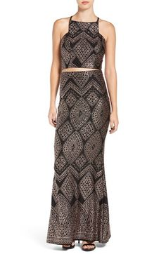 Speechless Two-Piece Glitter Gown | Nordstrom