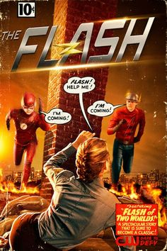 The Flash TV show with awesome Comic cover swipe of the first meeting of Golden Age Flash and Silver Age Flash