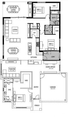 Barcelona | Boutique Homes Porch House Plans, Bungalow House Plans, House Yard, Dream House Plans, Small House Plans, House Floor Plans, Living Room Floor Plans, Three Bedroom House Plan, Circle House