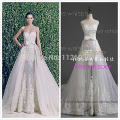 Vestido De Noiva Zuhair Murad 2015 Sheath Gown Off the Shoulder Sleevelesss Wedding Dress with Detachable Chapel Train Skirt
